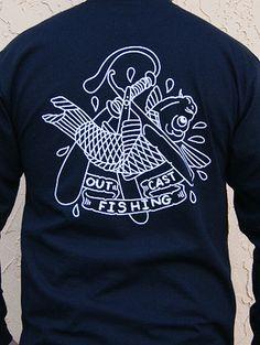 "Outcast Fishing Apparel - Men's fishing shirt ""Love Thy Fisherman"" tattoo inspired fishing gear Fishing Apparel, Fishing Shirts, Fisherman Tattoo, Artwork Ideas, Fishing Outfits, Thoughts, Inspired, Random, Tattoos"