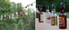 18 Ideas How to Arrange the Yard This Summer - alcohol sample bottle lights Mini Alcohol Bottles, Mini Bottles, Liquor Bottles, Christmas Lights Garland, Christmas Wreaths, Light Garland, Beer Bottle Lights, Beer Bottle Crafts, Homemade Fathers Day Gifts