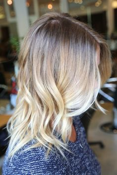 Shoulder length blonde ombré. Eventually in want something similar to this.