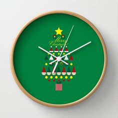 FLAT CHRISTMAS series -CHRISTMAS TREE_G Wall Clock by SEOL.D - $30.00