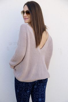 Mauve V-Back Sweater