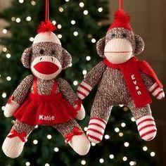 Personalized Sock Monkey Christmas Ornament