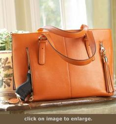 Concealed Carry Purse - Smooth Leather Tote | GunHandbags.com finally the tan I was looking for!