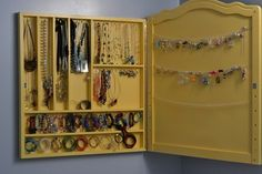 Reminder that jewelry in a case (or behind a door that closes) would probably be nicer looking, even in a closet, than just jewlery hung on hooks or in re-purposed utensil organizers.