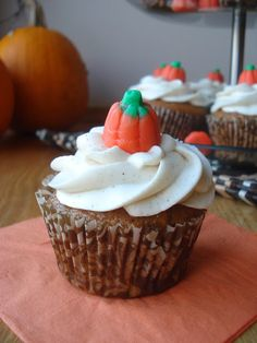 Pumpkin Brown Butter Cupcakes with Maple Cream Cheese Frosting