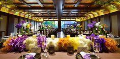 城山観光ホテル:会場のテーマは「古今和歌」で日本の伝統文化とモダンデザインを統合し洗練された和モダン空間。古今和歌集の恋歌や源氏物語の世界観をかもしだしている