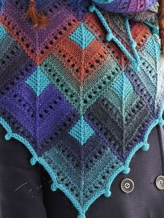 """""""Stained-glass"""" (knitted shawl, wrap, knitting lace, wool shawl, modular squares, patchwork, stained-glass, domino knitting)"""