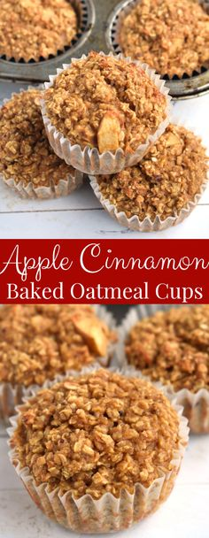 Apple Cinnamon Baked Oatmeal Cups have the texture of a muffin, are perfect for meal prep and are packed with nutrients for a healthy breakfast! #oatmeal #bakedoatmeal #breakfast #mealprep #healthy #cleaneating #wholegrain #apples