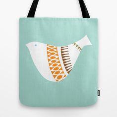 Mid-century Illustrated Bird No. 1 Tote Bag by deedee914 - $22.00