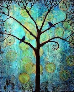 birds in a tree in blues and greens
