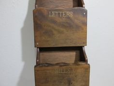 Letter Holder Mail Organizer Wood Wall Hanging (read details) by LuRuUniques on Etsy