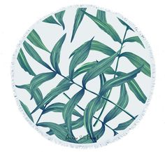 The Amazing Round Towel in gorgeous exclusive Teal Green and White Palm Leaf design, available right here! A huge 150cm diameter Finished off with