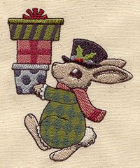 Vintage Christmas Bunny | Urban Threads: Unique and Awesome Embroidery Designs