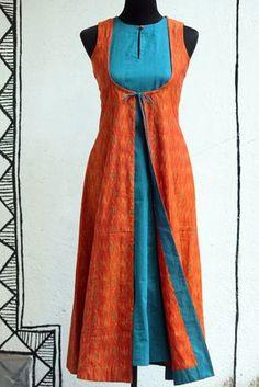 Oooh that would be a fun summer dress :) dress - aqua mangalgiri & orange ikat – maati crafts Salwar Designs, Kurti Neck Designs, Blouse Designs, Kurta Patterns, Dress Patterns, Indian Attire, Indian Wear, Designer Kurtis, Designer Dresses