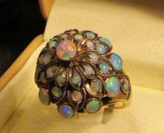 Large Vintage Estate Opal Dome Ring in 18K Gold