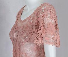 1930-е годы на одежду Vintage текстиля: # 2817 ирландского кружева платье