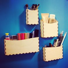 Get organized with your makeup so that it's always easy to find things. Spend more time on the fun part (actually doing your makeup!) These wooden boxes keep everything handy either out on a vanity or displayed on a magnetic makeup organizer board.  This is a simple and elegant storage solution for your taller makeup items. It's great for mascara, eyeliners, brushes, lip crayons, tweezers and other tools. The narrow design keeps everything upright, together, and in view. It's a perfect gift!