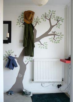 painted tree coat hooks