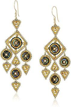 Amazon.com: Miguel Ases Shell Donut Geometrische Kronleuchter Drop Ohrringe: Jewelry Chandelier Earrings, Beaded Earrings, Statement Earrings, Beaded Jewelry, Fine Jewelry, Women Jewelry, Drop Earrings, Gold Fashion, Fashion Earrings