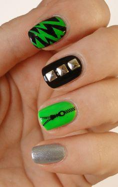 Chasing Shadows: Neon rock nails
