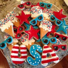our fourth of july celebrations Blue Cookies, Summer Cookies, Fancy Cookies, Iced Cookies, Cut Out Cookies, 4th Of July Cake, 4th Of July Desserts, Fourth Of July Food, July 4th
