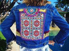 Perfect weather for a denim jacket. Fully handbeaded panel handmade. So so beautiful to wear. #free shipping. International buyers welcome. Only one of each. https://www.seacircuscollections.com/collections/jackets-shirts
