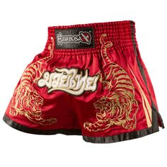 Men Polyester Mma Shorts Muay Thai BoxingShorts Pantalones Mma Hayabusa Black Red Tiger Kick Boxeo Sanda Embroidery Fighting