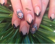 Black and White gel design on Almond Nails