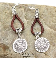 Boho Ethnic Leather Earrings - Silver And Natural Brown Leather Dangle Earrings - Tribal Hoop Leather Earrings by CinfulBeadCreations on Etsy