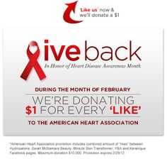 """Your Beauty Advisor is Donating $1 to the American Heart Association for Every Facebook """"LIKE""""!! Hurry Ends 2/29!"""