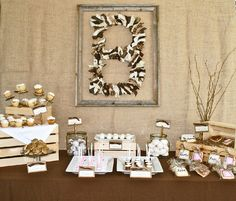 Charming Rustic Wedding Shower Dessert Table...