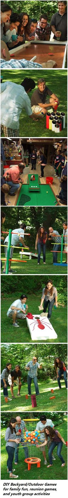 If you build it they will come. DIY Outdoor Games with step-by-step instructions. Use them for outdoor family fun, youth group activities, and/or family reunion games. See http://www.thisoldhouse.com/toh/photos/0,,20506195,00.html