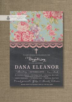 Chalkboard Lace Baptism Invitation Chic by digibuddhaPaperie, $23.00
