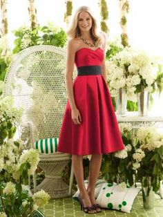 I love the simple style of this dress for a bridesmaid, and of course I love the red with a black belt.
