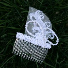 Flower Hair Comb White with Lace Feather Pearl by TheOtherSister (Accessories, Hair, Comb, wedding, bride, bridesmaid, flower girl, prom, gala, mardi gras, white, feather, beading, hair, comb, bridal)
