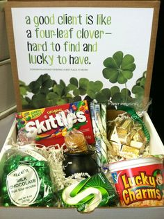 "Lucky St. Patrick's Day gift - A good client is like a four-leaf clover, hard to find and lucky to have!"" Box includes: Skittles, See's Shamrock chocolates, Lucky Charms, green gum, gold nuggets, stripped candy sticks, and gold coins in a cauldron"