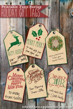 Free Printable Faux-Burlap Holiday Gift Tags
