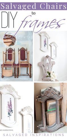 Salvaged Chairs into DIY Frames Salvaged Furniture, Furniture Repair, Painted Furniture, Diy Furniture, Chair Makeover, Furniture Makeover, How To Make Frames, Wooden Candle Holders, Diy Chair