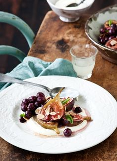 Honey-roasted figs with limoncello crème fraîche recipe | Eat Your Books