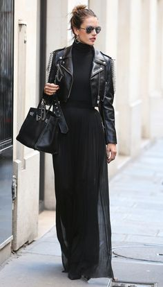 Alessandra Ambrosio in a black turtleneck, maxi skirt and leather motorcycle jacket - click through to see more celebrity winter outfit ideas