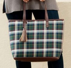 Perfect large bag for travel! The Green Plaid Monogrammed Tassel Purse is preppy perfection!
