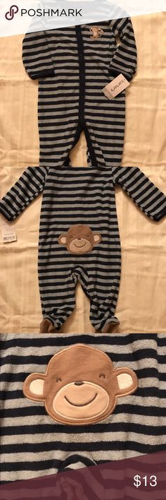 NWT Carter's One Piece Footie Monkey 🐒 PJ's 6 Mos Very cute one piece footie pajamas with monkeys 🐒 on front, bottom and feet. They are Navy and light blue striped made of Terry cloth. If you have any questions please feel free to contact me and thanks for looking! Feel free to make offers or bundle, I give bigger discounts on bundles than what is stated! Thanks again and have a great day! Carter's One Pieces Footies