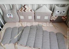 Купить Бортики в кроватку - коричневый, бортики, бортики в кроватку, бортики подушки, бортики домики