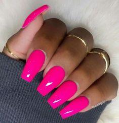 Beautiful Pink long acrylic nails - Nails Tip Barbie Pink Nails, Neon Pink Nails, Pink Nail Colors, Pink Manicure, Bright Nails, Matte Pink, Bright Pink Nails With Glitter, Bright Colors, Pink Acrylic Nail Designs