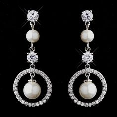 White Pearl and CZ Bridal Wedding Earrings in silver plating beautiful for the bride or bridesmaids! Affordable Elegance Bridal -