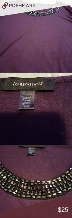 Purple light weight sweater Purple light weight sweater with embellished neck line and color block black side. Ashley Stewart size 22/24 Ashley Stewart Sweaters Crew & Scoop Necks