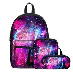 Galaxy Design Rucksack Backpack Canvas Shoulder Bag Space Girls Pen Case Lot - Handbag - Ideas of Handbag Backpack Cute Backpacks For School, Cute Mini Backpacks, Girl Backpacks, Leather Backpacks, Bags For Teens, School Bags For Kids, Girls Bags, Mochila Galaxy, Mochila Do Bts