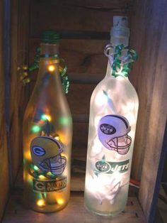 Lighted Wine Bottles on Display
