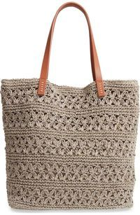 Nordstrom Packable Raffia Crochet Tote - Bag and Purse Crochet Clutch, Crochet Handbags, Crochet Purses, Crotchet Bags, Knitted Bags, Crochet Shell Stitch, Bead Crochet, Free Crochet, Crochet Chart