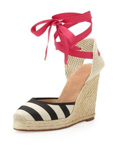 santorini striped espadrille wedge, black/white by kate spade new york at Neiman Marcus.   Spring 2014